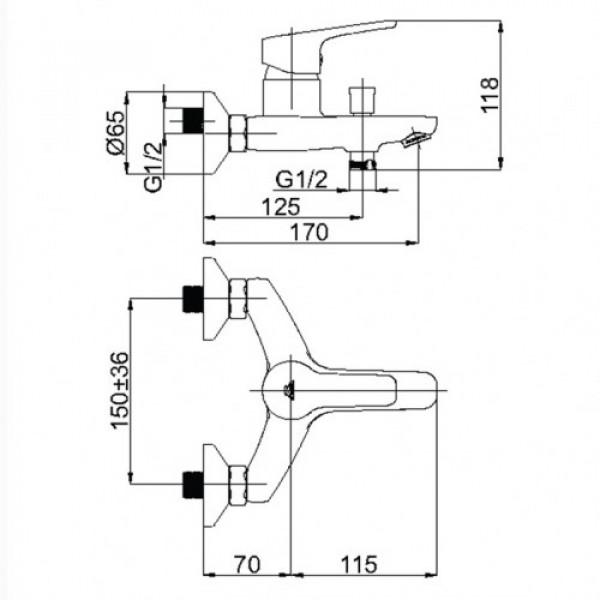 Смеситель для ванны Rubineta Uno 10 BK N10061