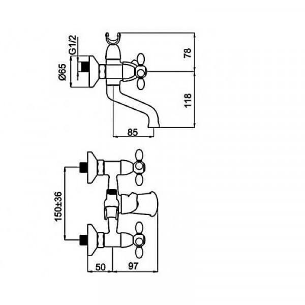 Смеситель в ванную RUBINETA TOSCANA M10S06