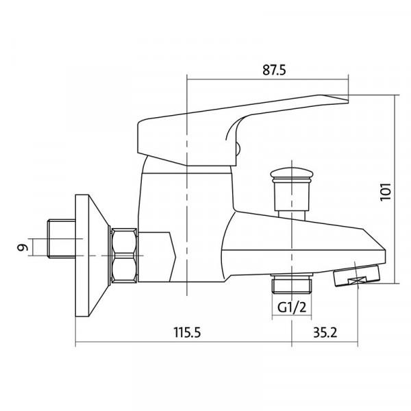 Смеситель для ванны Cersanit Amet S951-003