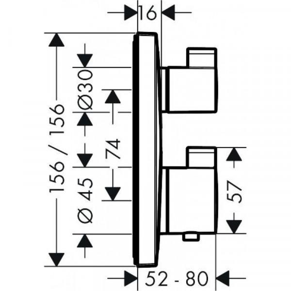 Термостат с запорным вентилем Hansgrohe Ecostat Square 15712000