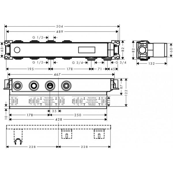 Скрытая часть для термостата на 2 потребителя Hansgrohe Select 18310180