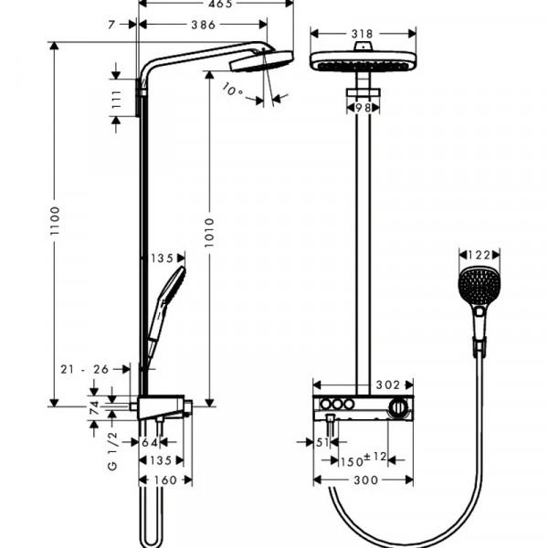 Душевая система Hansgrohe Raindance Select Air 27127000