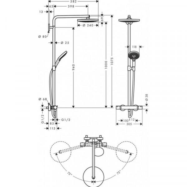 Душевая система Hansgrohe Raindance Select S 27129000