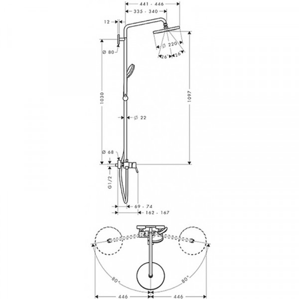 Душевая система Hansgrohe Croma 220 27222000
