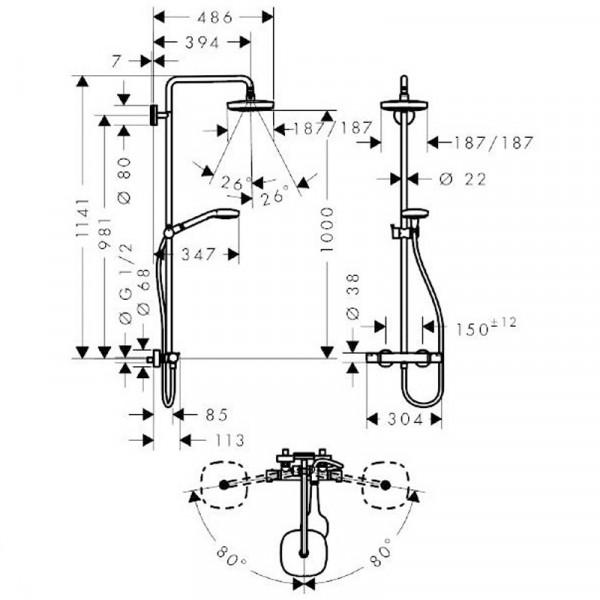 Душевая система Hansgrohe Croma Select E 27256400