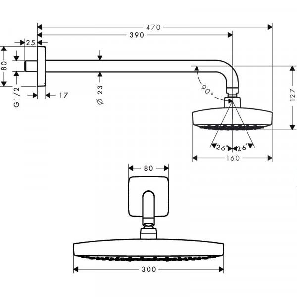 Верхний душ, хром/белый Hansgrohe Raindance Select E 27385400