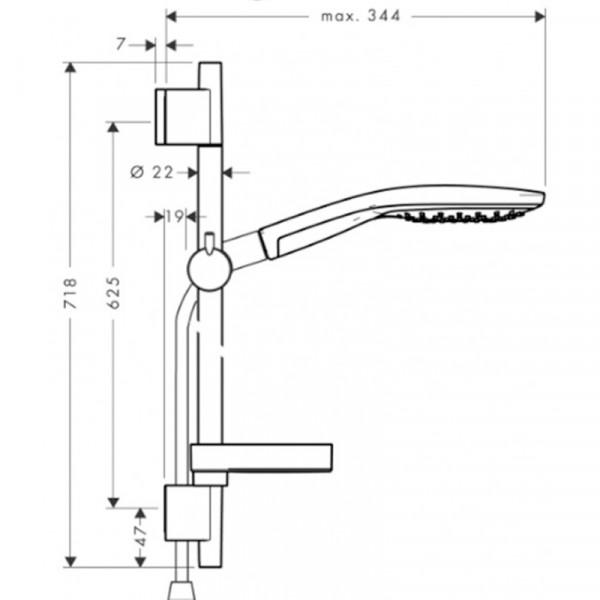 Душевой набор со штангой Hansgrohe Raindance Select 150 Unica`S Puro 27802000