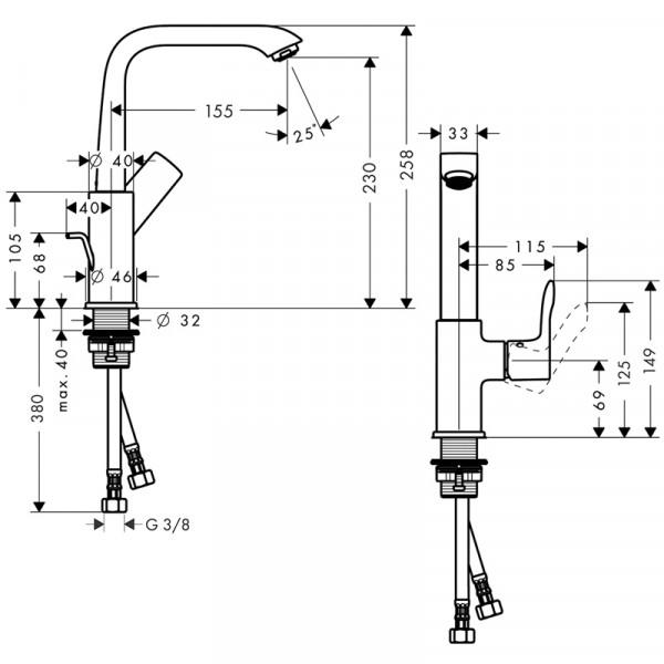 Смеситель для раковины с донным клапаном Hansgrohe Metris 31087000