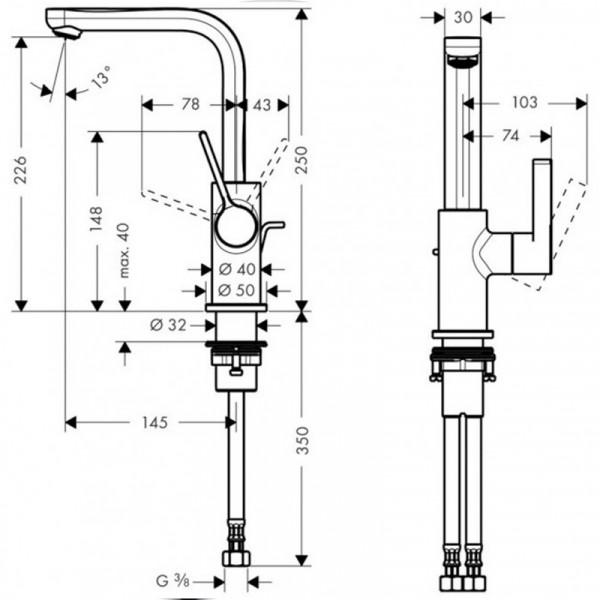 Смеситель для раковины с донным клапаном Hansgrohe Metris S 31159000