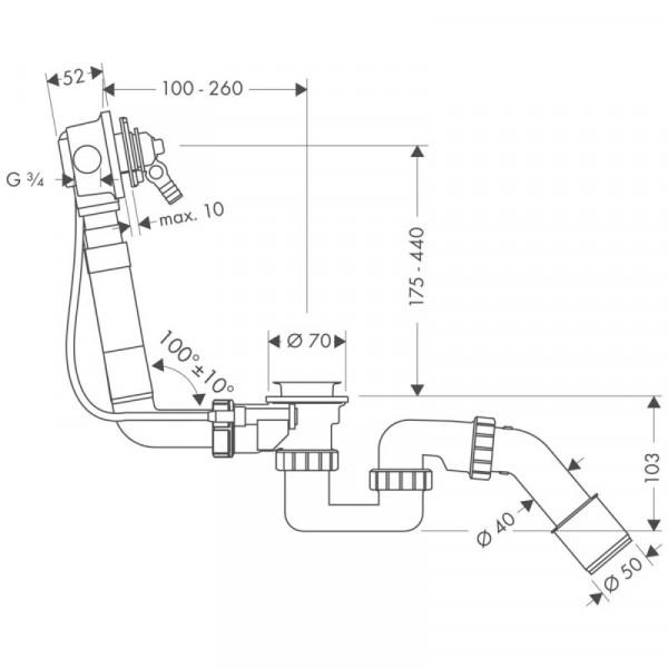 Сифон для ванны Hansgrohe Exafill  58125180