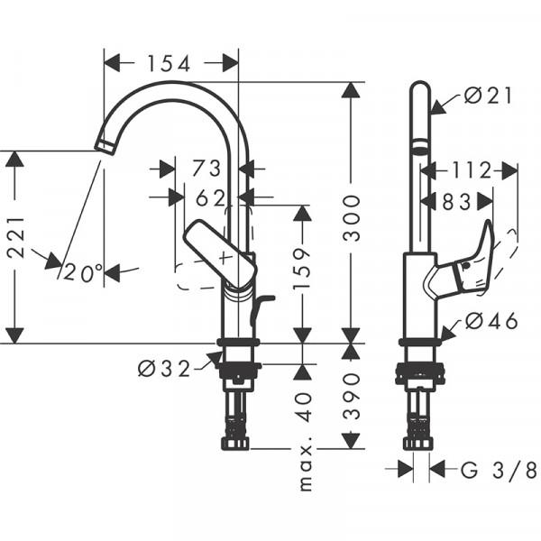 Смеситель для раковины с донным клапаном Hansgrohe Logis 71130000