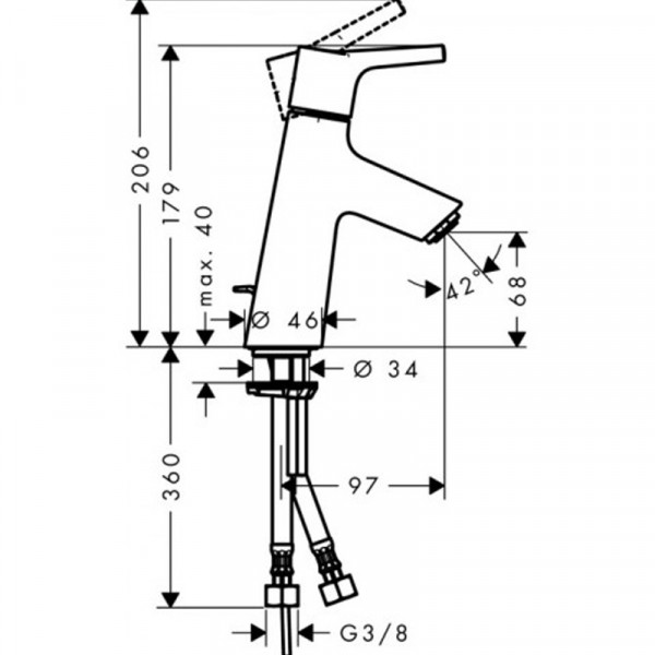 Смеситель для раковины с донным клапаном Hansgrohe Talis S 72010000