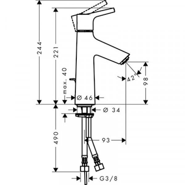 Смеситель для раковины с донным клапаном Hansgrohe Talis S 72022000