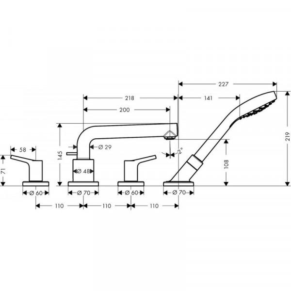 Смеситель на борт ванны на 4 отверстия Hansgrohe Talis S 72418000