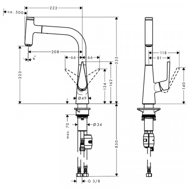 Кухонный смеситель с вытяжным изливом Hansgrohe Talis Select S 72821000