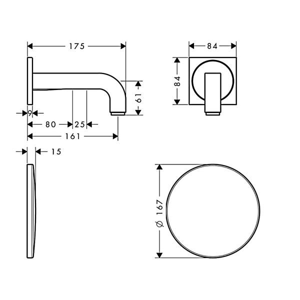 Настенный смеситель для раковины Hansgrohe Axor Citterio 39117000