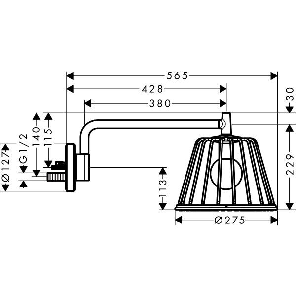 Верхний душ с лампой, шлифованный никель Hansgrohe Axor Lamp Shower 26031000