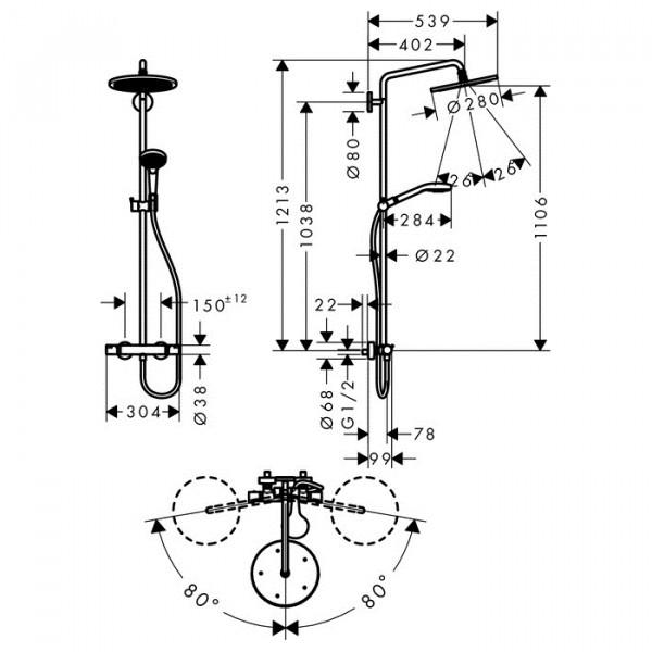 Душевая система с термостатом Hansgrohe Croma Select 280 Air 26790000