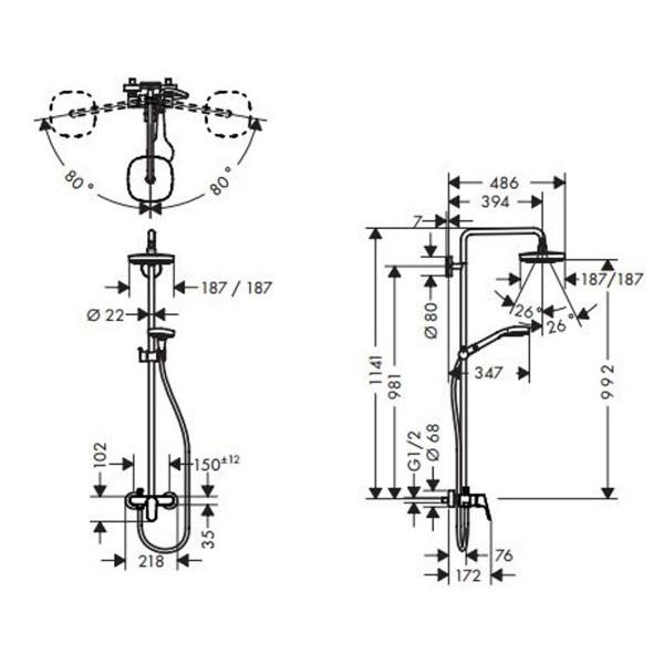 Душевая система Hansgrohe Croma Select E 180 27258400