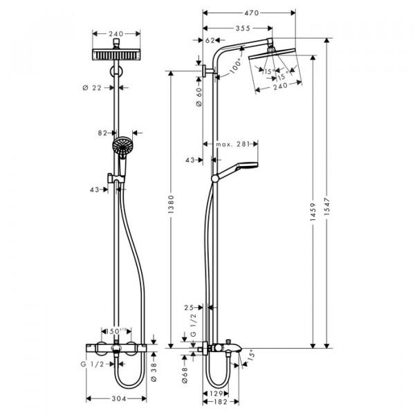 Душевая система с термостатом Hansgrohe Crometta E 27298000
