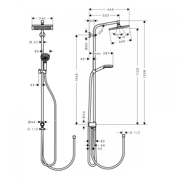 Душова система Hansgrohe Crometta E Showerpipe 240 1jet EcoSmart Reno 27289000