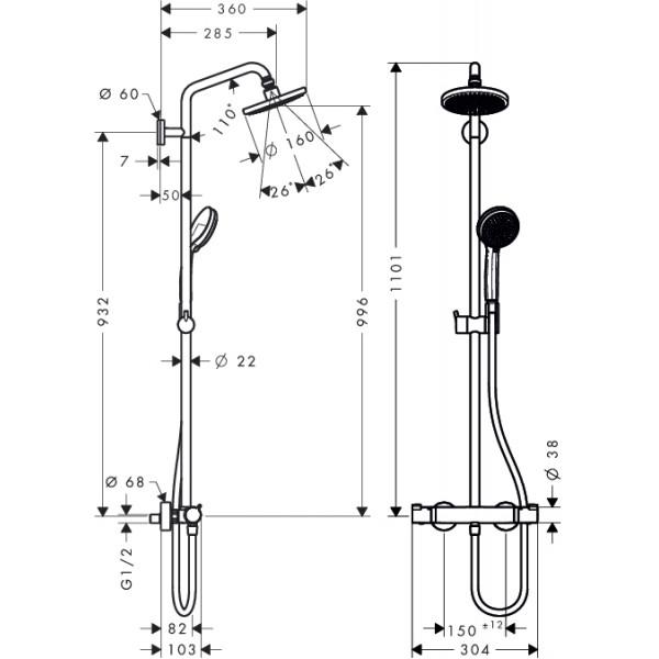 Душевая система с термостатом Hansgrohe Croma 160 Showerpipe 27135000
