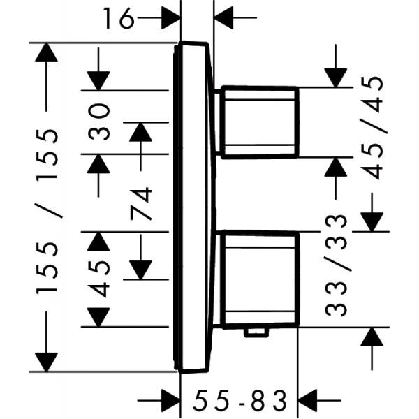 Термостат с запорным вентилем Hansgrohe Ecostat E 15708000