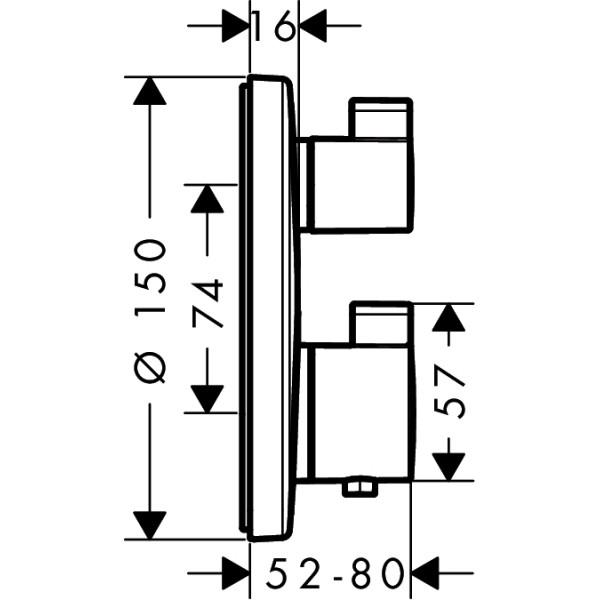 Термостат с запорным вентилем Hansgrohe Ecostat S 15757000