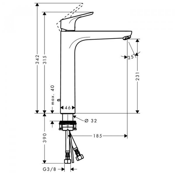 Смеситель для раковины со сливным гарнитуром Hansgrohe Focus 31531000