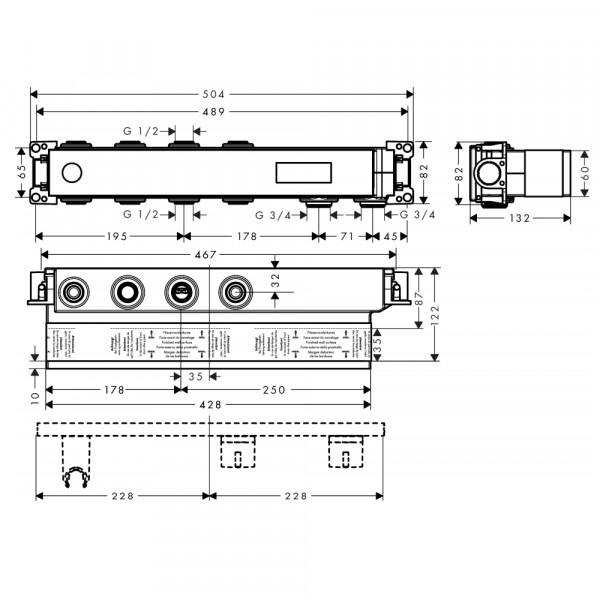 Скрытая часть смесителя с 2 кнопками Hansgrohe RainSelect 15310180