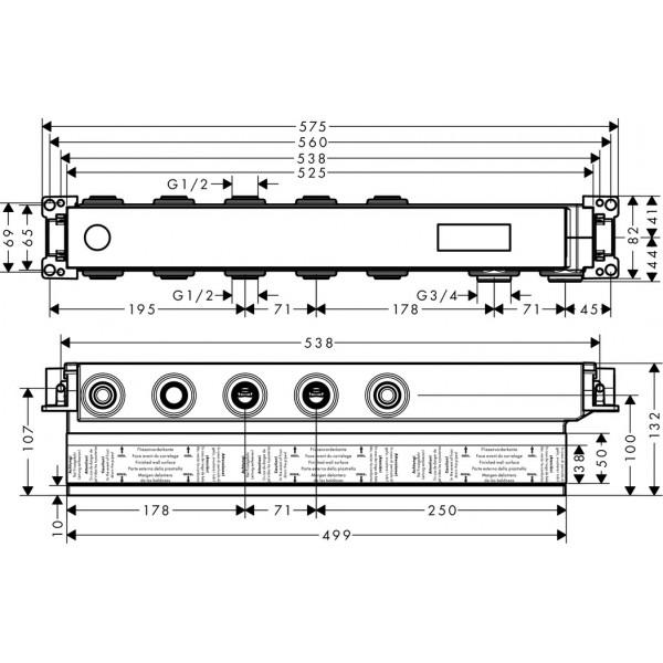 Скрытая часть смесителя для 3 потребителей Hansgrohe RainSelect 15311180