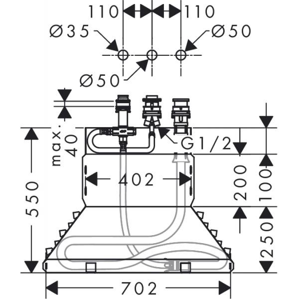 Скрытая часть смесителя на борт ванны на  отверстия Hansgrohe Metris 13437180