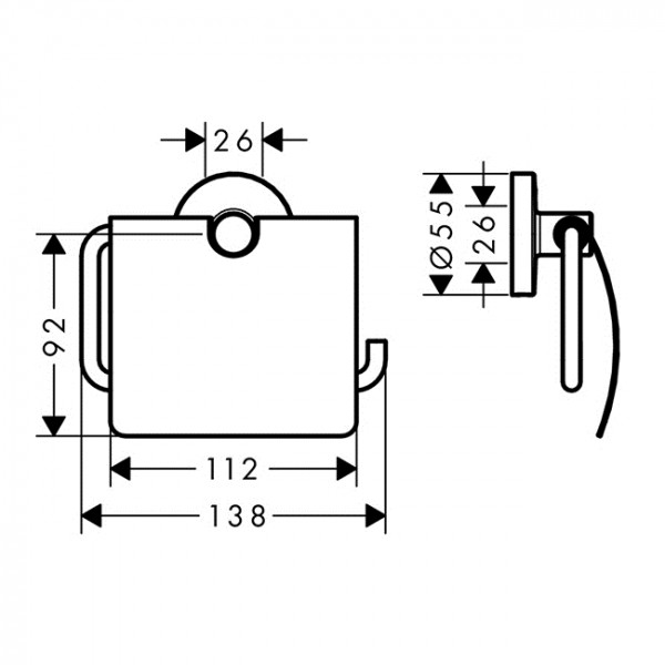 Настенный держатель для туалетной бумаги  с крышкой Hansgrohe Logis 41723000