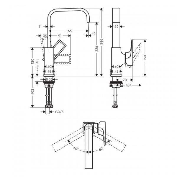 Смеситель для раковины с донным клапаном push-open Hansgrohe Metropol EcoSmart 74511000