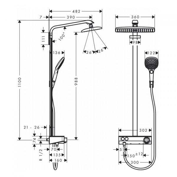 Душевая система с термостатом, хром-белый Hansgrohe Raindance Select E 360 1jet ST Showerpipe 27288400