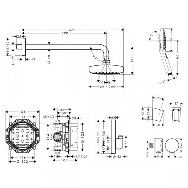Набор душевой системы с термостатом Hansgrohe Raindance Select E 27296000