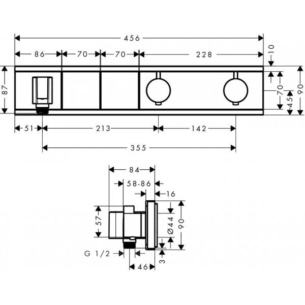 Термостат на 2 потребителя, черный Hansgrohe RainSelect 15355600