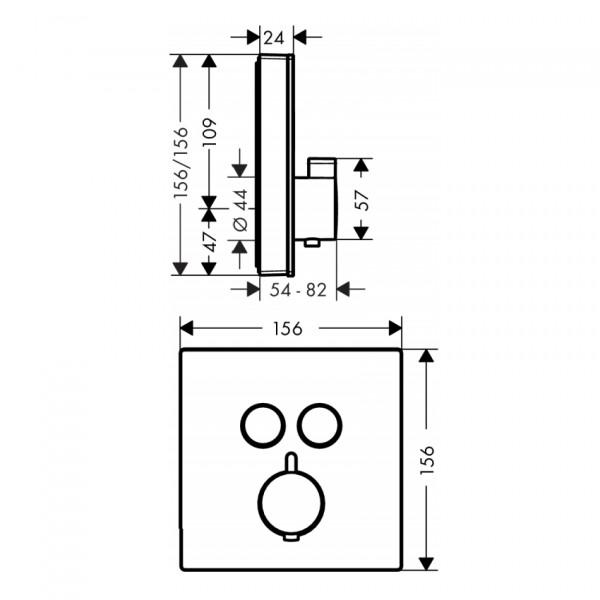 Термостат для двух потребителей, черный/хром Hansgrohe ShowerSelect 15738600