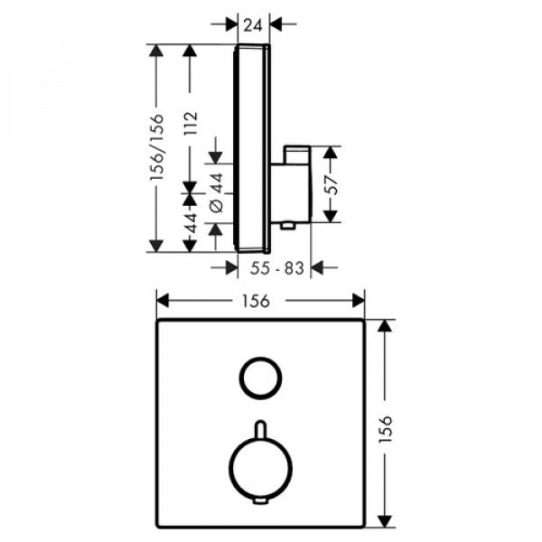 Верхняя часть смесителя для душа с термостатом, черный/хром Hansgrohe ShowerSelect 15737600