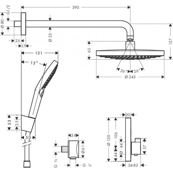 Душевая система с термостатом Hansgrohe ShowerSet Raindance Select S 27297000