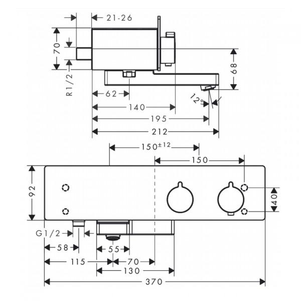 Термостат для ванны, хром/белый Hansgrohe ShowerTablet 13107400