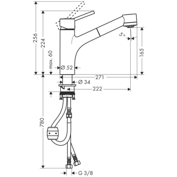 Однорычажный кухонный смеситель Hansgrohe Talis S 32841000