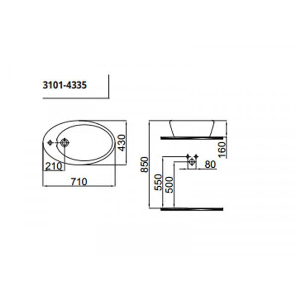 Умывальник 543 см IDEVIT Alfa 3101-0435