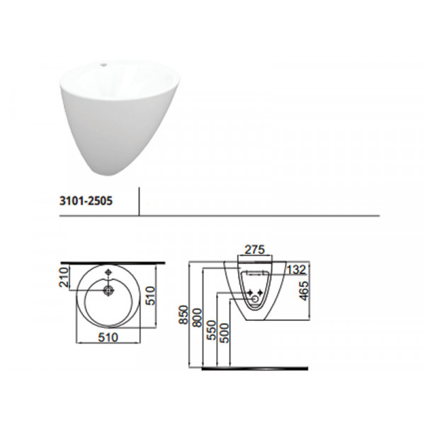 Умывальник 51 см IDEVIT Alfa 3101-2505