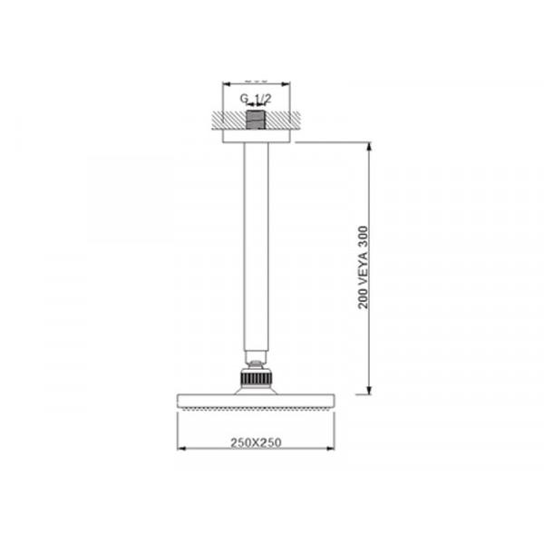 Верхний душ с потолочным кронштейном Newarc Corner 470532