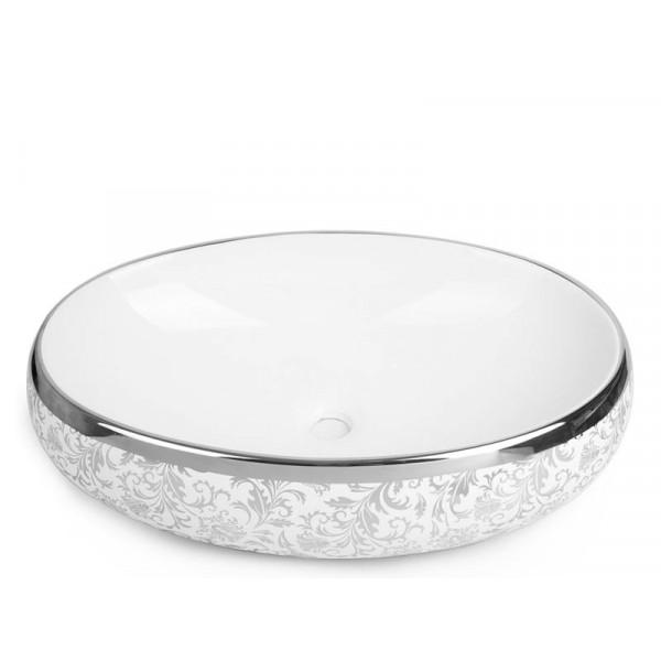 Умывальник Newarc Countertop 5015S-W, серебро-белый