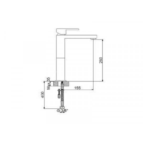 Смеситель для умывальника NEWARC Cubic 871001N, никель