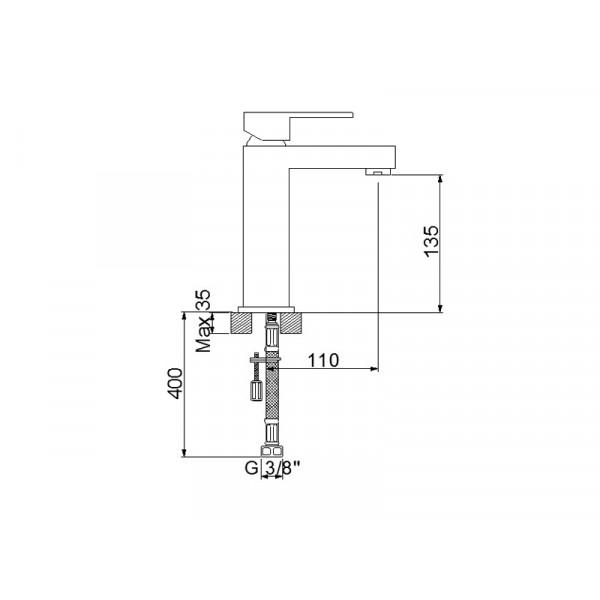Смеситель для умывальника NEWARC Cubic 871521N, никель