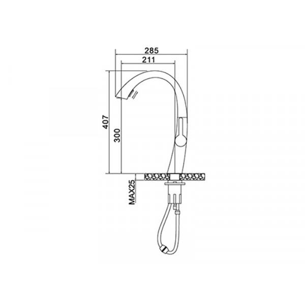 Кухонный смеситель NEWARC Energy 150921B/891921B, черный