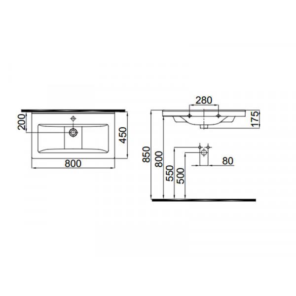 Умывальник 80 см IDEVIT Hera 0201-0805